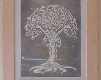 Sunrise Dryad, Handmade Print, Tree Woman, Silver and Gold on White - Framed Print - Silver Blue - Shiny Metallic - Decorative Arts