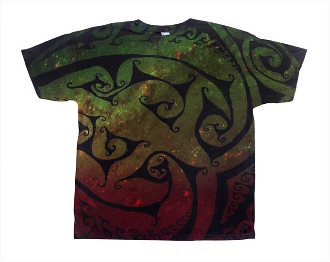 Corazona Tee, Rainbow Galaxy, Original Art, Designer Tee, Wild Print, T Shirt,Graphic Tee, Art Tee, Hand Drawn, Original Drawing