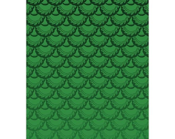 Swirly Mermaid, Note Card, 5pk or 10pk, Green, Ombre, Mermaid, Mermaid Scale,Fish Scale,Mermaid Card,Greeting Card, Hand Drawn, Original Art
