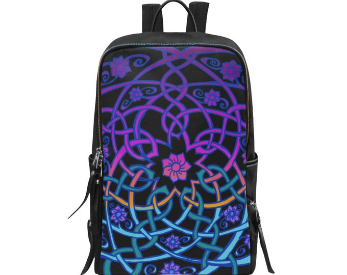 Celtic Flower, Backpack, Blacklight Rainbow Sherbet Ombre, Purple, Blue, Pink,7 Petal, Celtic Knot, Lady Backpack, Original Art, Hand Drawn