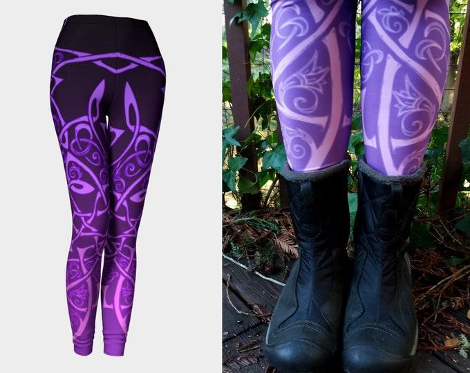 Wild Celtic Branches, Hot Purple Ombre, Celtic Knot, Flowers, Ombre Leggings, Knotwork, Tangled, Vines, Raver, Festival Pants, Dance