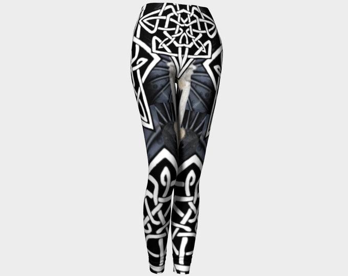 Steel Wheel Mecha Mermaid Armor Leggings, Mechanical, Steampunk, Festival, Rave, Black White, Celtic, Celtic Knot, Hand Drawn, Original Art