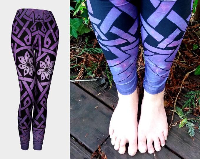 Seven Petal Flower, Purple Ombre, Galaxy, Galaxy Print, Celtic Knot, Mandala, Mandala Leggings, Galaxy Leggings, Purple Flower, Original Art