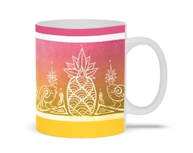 Sirens & Pineapple, Pink, Gold, Coffee Mug, Mythical Character, Art Deco, Tropical, Ombre, Fabulous Wallflowers, Original Art, Laura Cesari