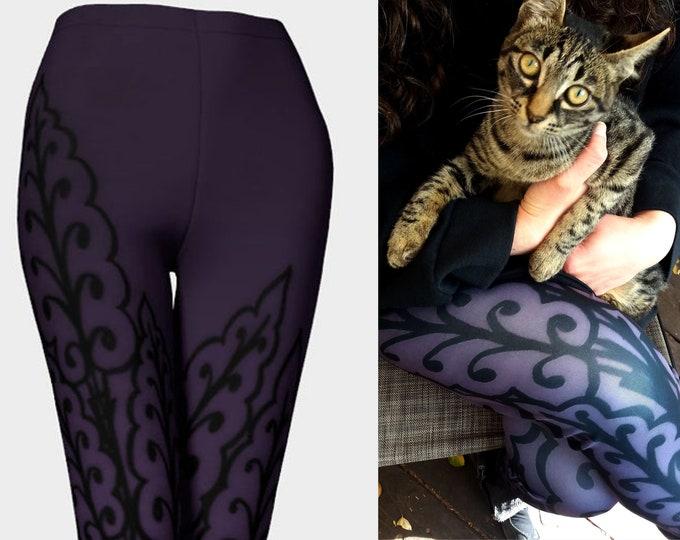Medieval Leaves 3, Royal Purple, Purple Leggings, Leaf, Leaf Pattern,Purple,Dark Purple,Workout, Dance, Purple Pants, Leggings, Original Art