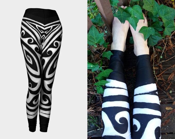Shark Away!, Black and White Stripe Leggings, Greek, Polynesian, Spiral, Shark Pants, Waves, Tights, Symmetry, Shark Repellent, Original Art