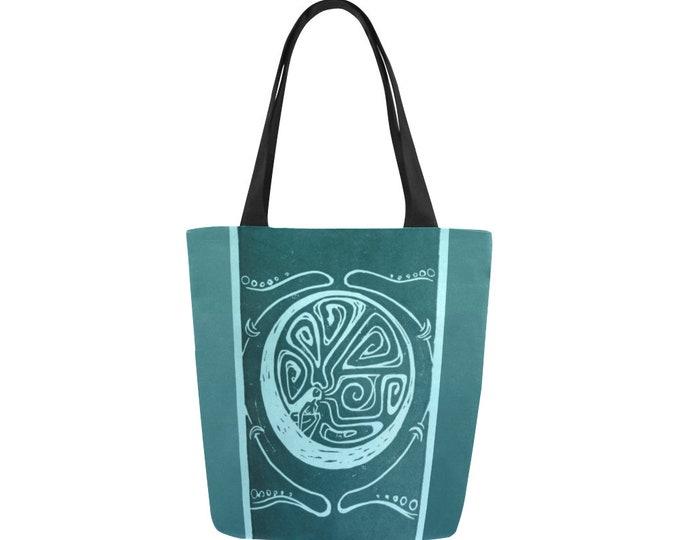 Woman in the Moon, Book Bag, Peacock Blue, Celestial, Mythical Character, Canvas, Art Tote, Fabulous Wallflowers, Original Art, Block Print