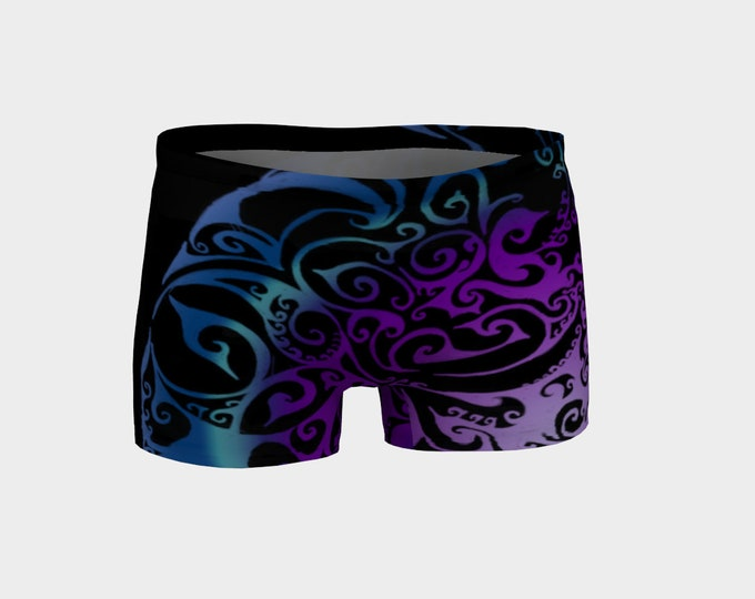 Ice Valkyrie Shorts, Celtic Spiral, Blue Ombre, Purple Ombre, Hot Pants, Workout Shorts,Yoga, Swimsuit,Swim Bottom, Original Art, Hand Drawn