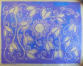 Family Tree Poster - 5 Generations - Blank - Handmade Block Print - Purple and Blue on Brown Bag - Ancestry Chart - Decorative Floral