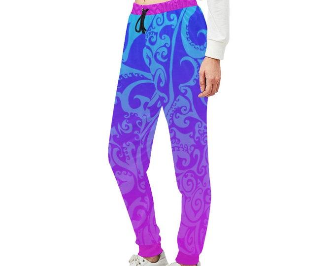 Katara's Favorite, Pocket Pants, Joggers, Swirl, Purple,Blue, Loose Fitting Pants, Womens Pants, Designer, Workout, Original Art, Hand Drawn