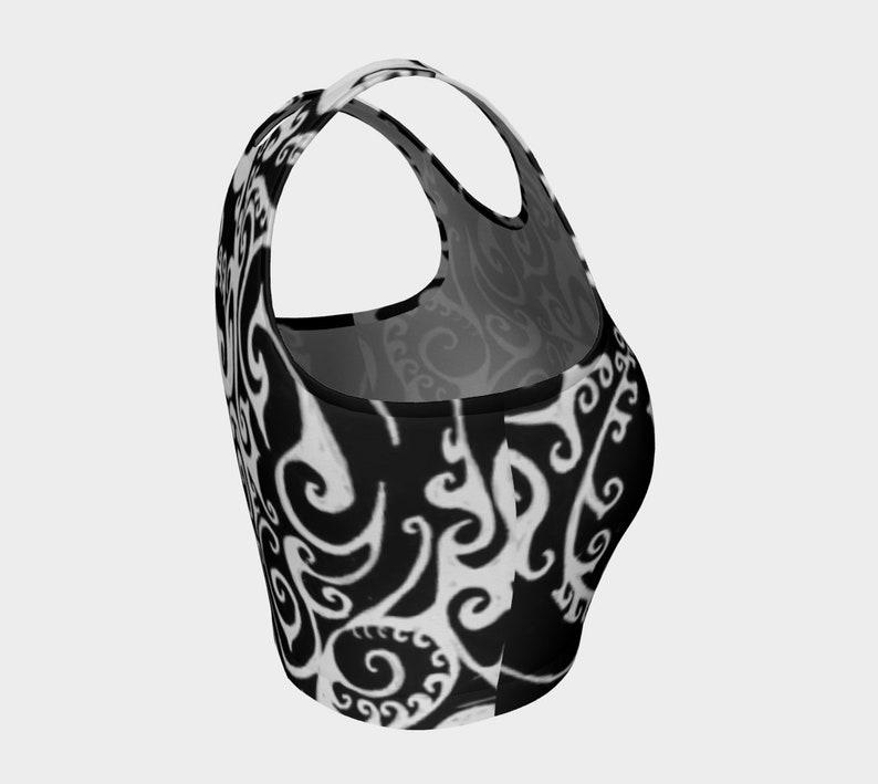 Valkyrie Celtic Spiral Top Hand Drawn Workout Sport Bra Bikini Top Yoga Top,Swimsuit Swim Top,Crop Top Black and White Original Art