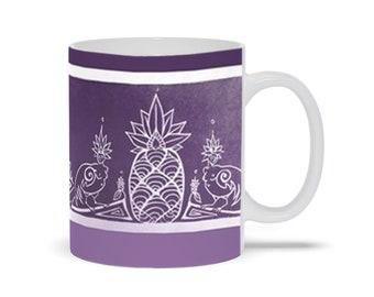 Sirens & Pineapple, Royal Purple, Coffee Mug, Mythical Character, Art Deco, Ombre, Fabulous Wallflowers, Original Art, Laura Cesari