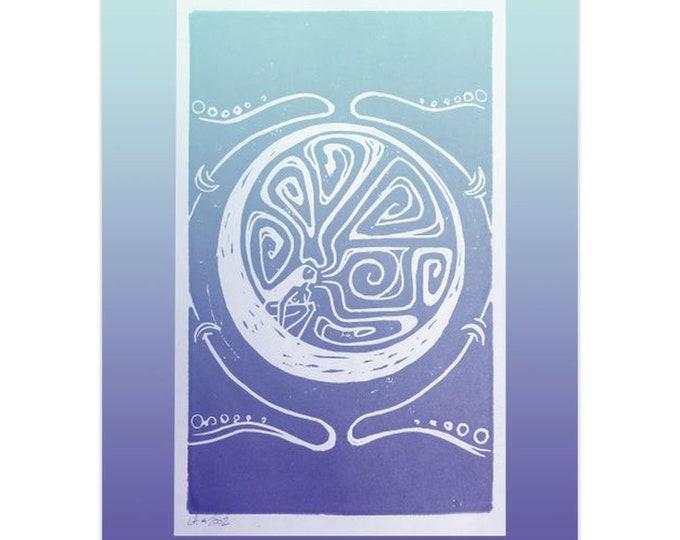 Woman in the Moon, Note Cards, 5pk or 10pk, Purple, Blue, Moon, Goddess, Woman, Girl Power, Greeting Card,Fabulous Wallflowers,Original Art