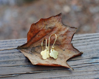 Small Gold Clover Earrings. Gold Plate Ear Wires.