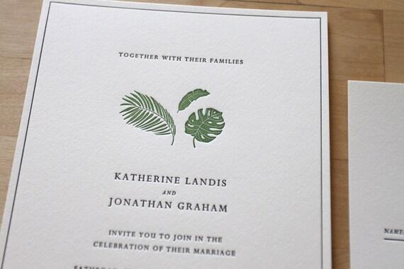 Letterpress Wedding Invitation Etsy