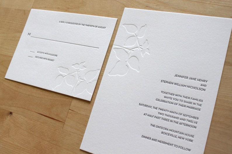 Minimalist Letterpress Wedding Invitation