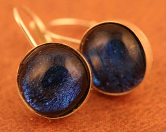Sterling Silver Lever Back Dichroic Earrings No. 165