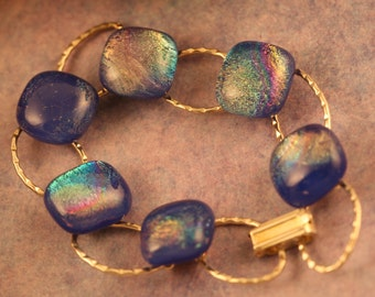 Sterling Silver Plated and Fused Glass Dichroic Bracelet No. 216