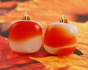 Fused Glass Clip On Earrings No. 240