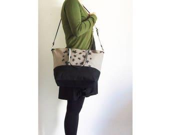 Screen Print Waxed Canvas Bag, Waced Canvas Bag, Waxed Canvas Tote, Crossbody Bag, Diaper Bag, Leather Straps