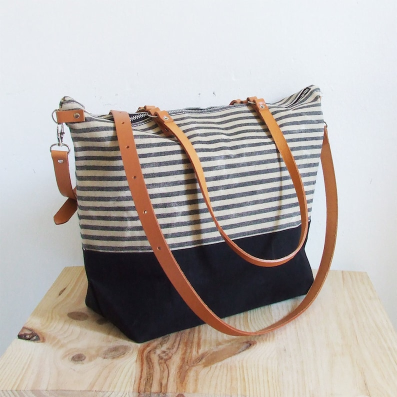 Leather Straps Personalized Diaper Bag Striped Bag Waxed Canvas Tote