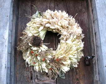 CORN HuSK WREATH large  size decorated   for Natural  wall or door decoration