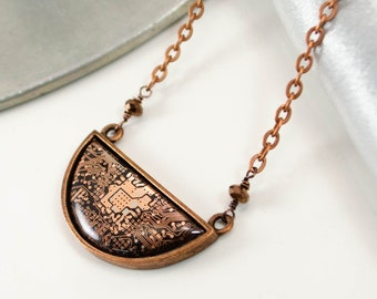 Copper Circuit Board Crescent Necklace, Computer Jewelry, Science Teacher Appreciation, Technology Necklace, Geek Chic