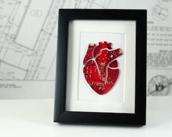 Mini Anatomical Heart Circuit Board Framed Art, Custom Recycled Motherboard Art