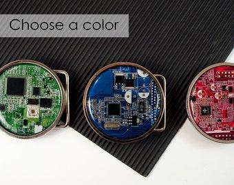 engineer belt buckle etsycircuit board belt buckle round, choose color, computer engineer gift, geeky belt buckle, industrial belt buckle, techie gift, nerdy gift