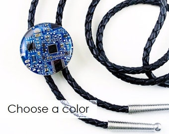 Circuit Board Bolo Tie, Computer Accessory, Wearable Technology, Engineer Gift, Western Tie, Leather Tie, Geek Gift for Him, Gift for Boss