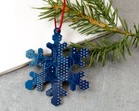 image 0 - Circuit Board Ornament Snowflake Geeky Ornament Computer Etsy