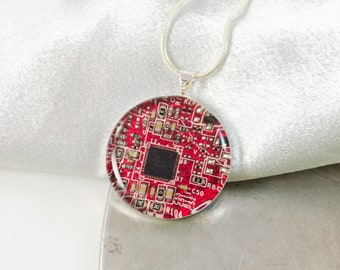 Circuit Board Necklace Red, Recycled Computer Jewelry, Wearable Technology, Electrical Engineer Gift, Techie Scientist Necklace, Geeky Gift