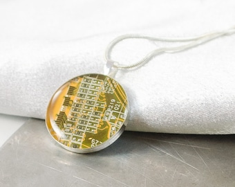 Circuit Board Necklace Yellow, Recycled Computer Jewelry, Geeky Necklace, Wearable Technology, Software Engineer Gift, Techie Jewelry, Nerdy