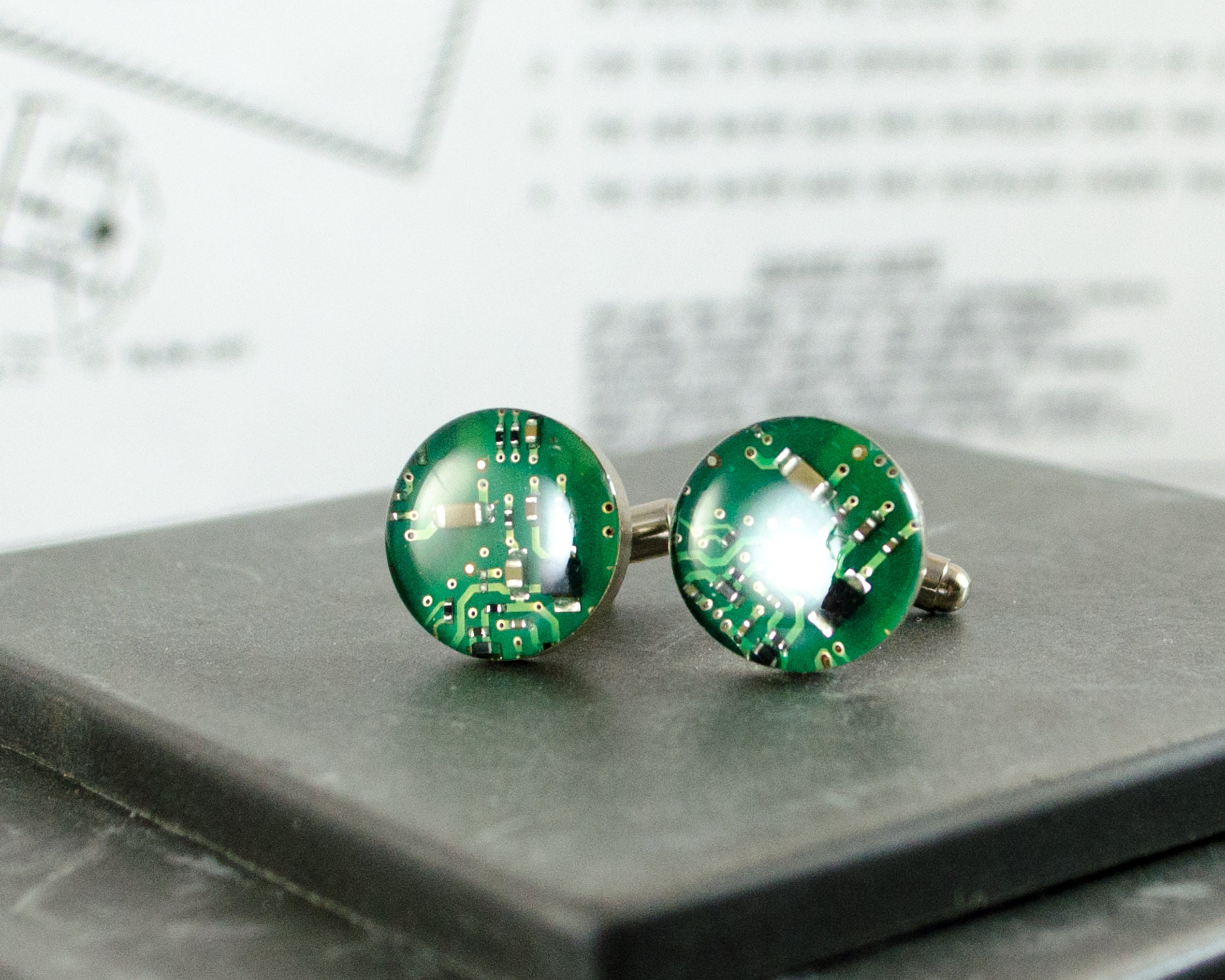 Green Circuit Board Cuff Links Computer Jewelry Wearable Etsy Necklace Geekery Nerd Upcycle Recycle 50