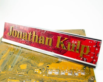 Custom Circuit Board Nameplate Sign, Personalized Desk Name Sign, Customized Office Decor, Modern Name Tag, Electrical Engineer Gift
