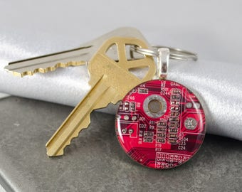 Circuit Board Keychain Red, Recycled Computer Key Fob, Engineer Gift, Wearable Technology, Geek Chic, Graduation Gift, Software Engineer