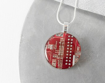 Circuit Board Necklace LARGE Red, Upcycled Motherboard Jewelry, Wearable Technology, Engineer Gift, Computer Programmer, Geekery
