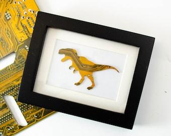 Mini T-Rex Circuit Board Framed Art, Custom Recycled Motherboard Art, Tyrannosaurus Rex Shelf Art, Dinosaur Gift, Paleontology Gift, Dino
