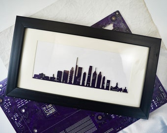 Custom Circuit Board Skyline Wall Art, Panoramic Style, Geek Art, Hometown Engineer Gift, Computer Programmer Art, Personalized Art Gift