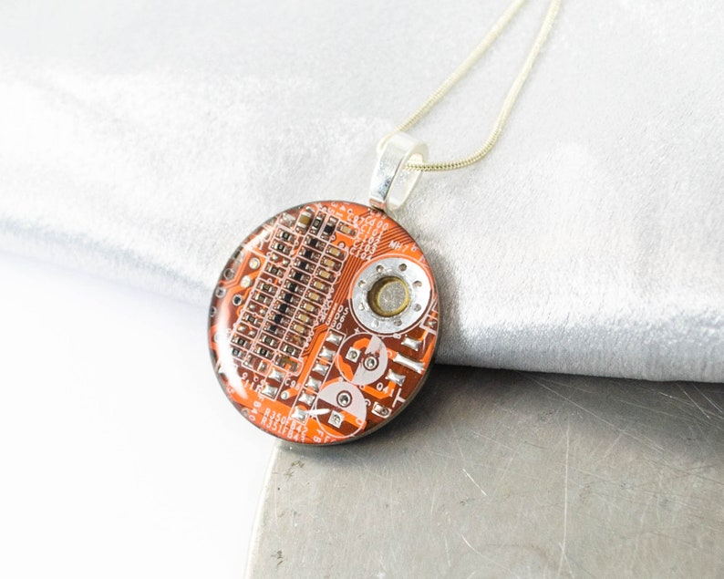 Large Circuit Board Necklace Orange Recycled Motherboard Jewelry