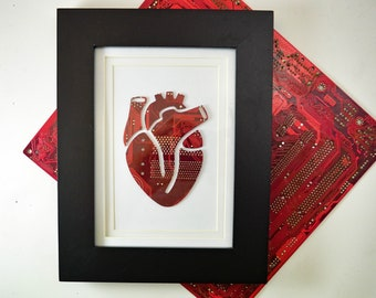 Anatomical Heart Circuit Board Framed Art, Small Motherboard Art, Custom Recycled Motherboard Art