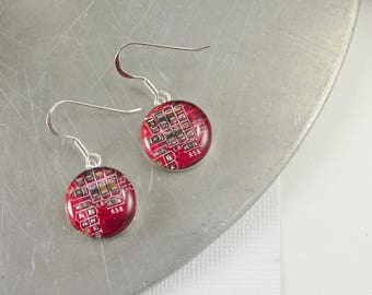 Circuit Board Earrings, Red Sterling Silver Jewelry, Red Dangle Earrings, Silver Earrings, Computer Engineer Gift, Women in Computing, Geek