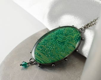 Circuit Board Necklace Green, Recycled Computer Circuit Board Jewelry, Oval Statement Necklace, Wearable Technology, Motherboard Necklace