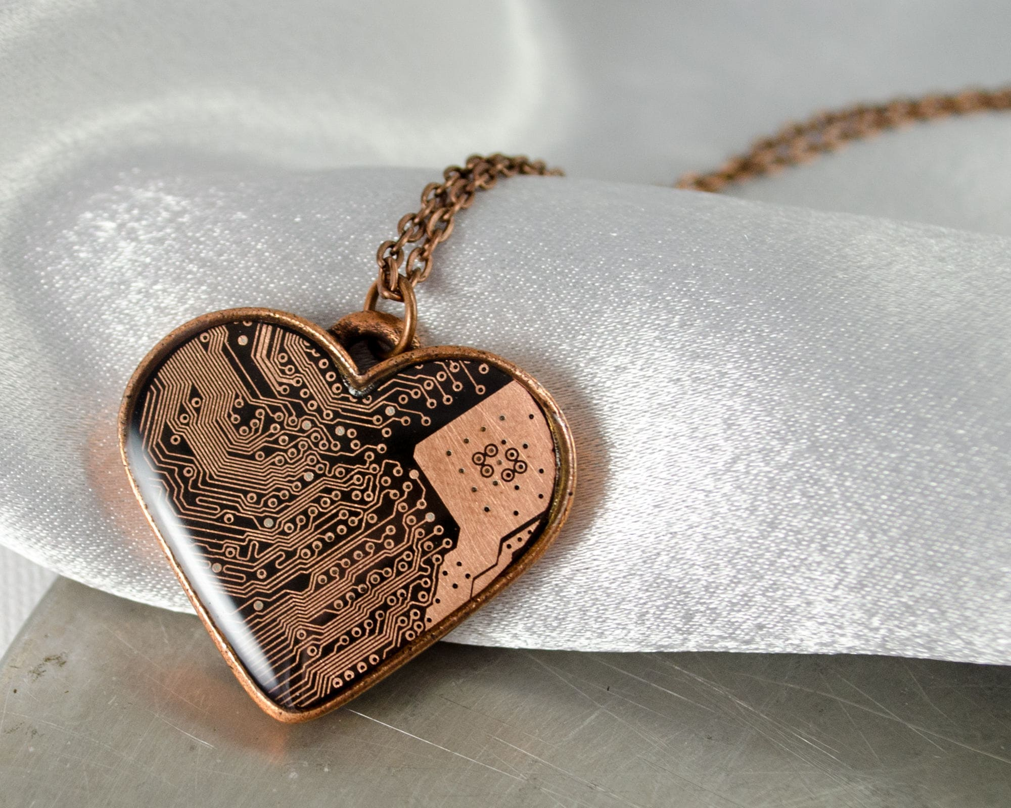 Copper Circuit Board Heart Necklace Love Valentine Etsy Earrings Recycled And Red Glass Beads Geekery Zoom