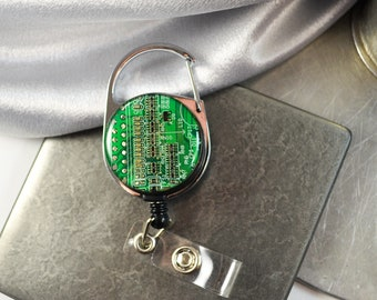 Circuit Board Retractable Badge Holder, Green Badge Reel, Nerdy Office Gift, Office Professional Engineer Gift, ID Holder, Computer Engineer