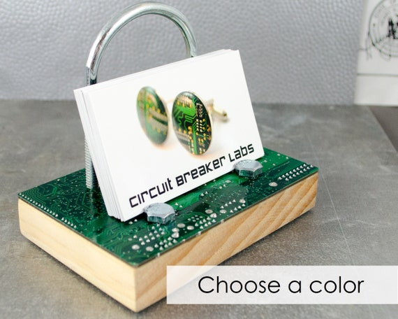 Circuit Board Business Card Holder Industrial Desk Container Etsy