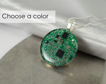 Circuit Board Necklace LARGE, Choose Color, Recycled Motherboard Jewelry, Wearable Technology, Computer Gift, Computer Programmer, Upcycled