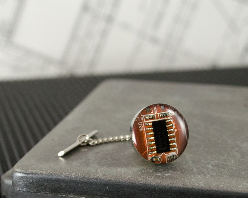 Circuit Board Tie Tack CHOOSE COLOR Lapel Pin Wearable Technology Gift Geeky Tie Pin Computer Engineer Gift Electrical Engineer Gift