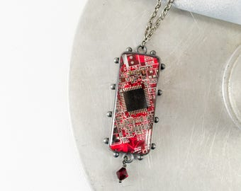 Circuit Board Necklace Red, Recycled Computer Circuit Board Jewelry, Statement Necklace, Wearable Technology, Motherboard Necklace, Geekery