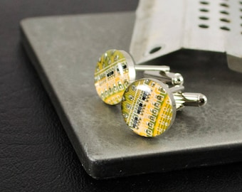 Yellow Circuit Board Cufflinks, Upcycled Motherboard Jewelry, Nerdy Wedding Accessories, Geeky Fathers Day Gift, Geeky Groomsmen Gift